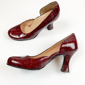 Anyi Lu Croc Embossed Red Patent Leather Pumps 7.5